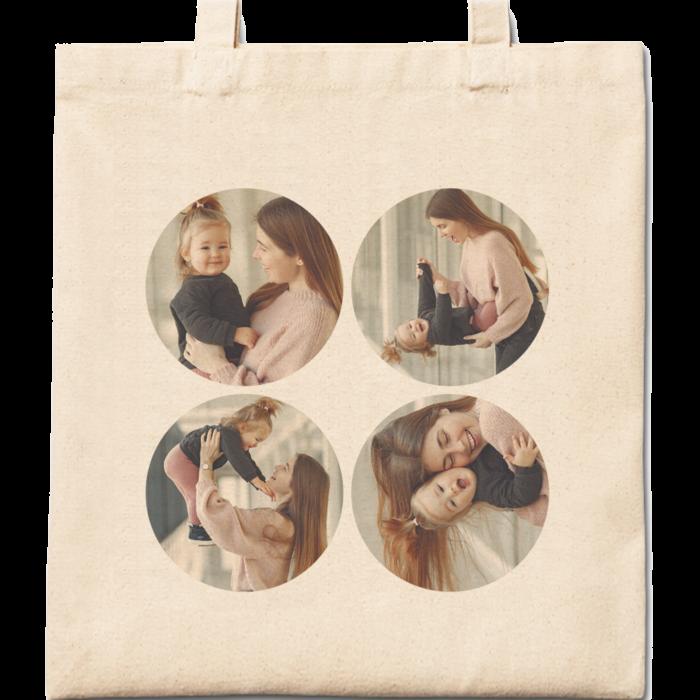 4 Round Photos Cotton Tote Bag
