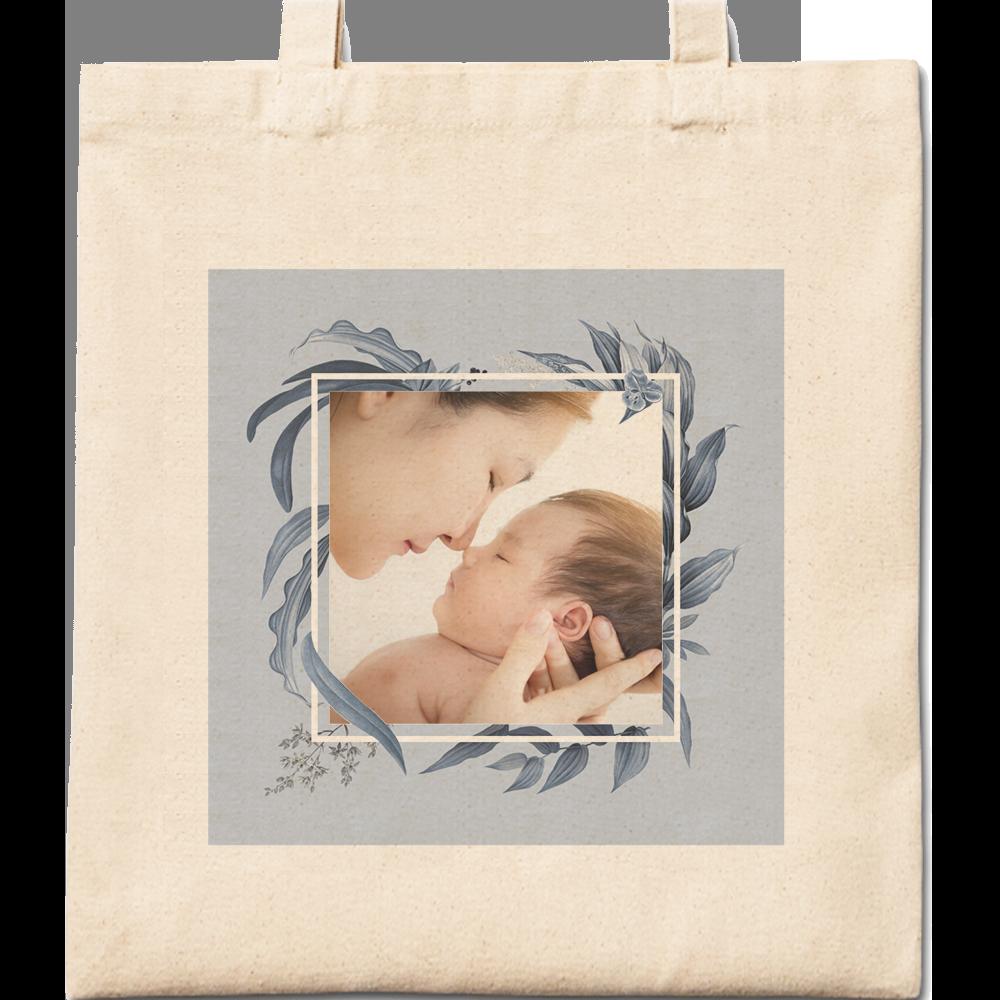 Blue Floral Cotton Tote Bag